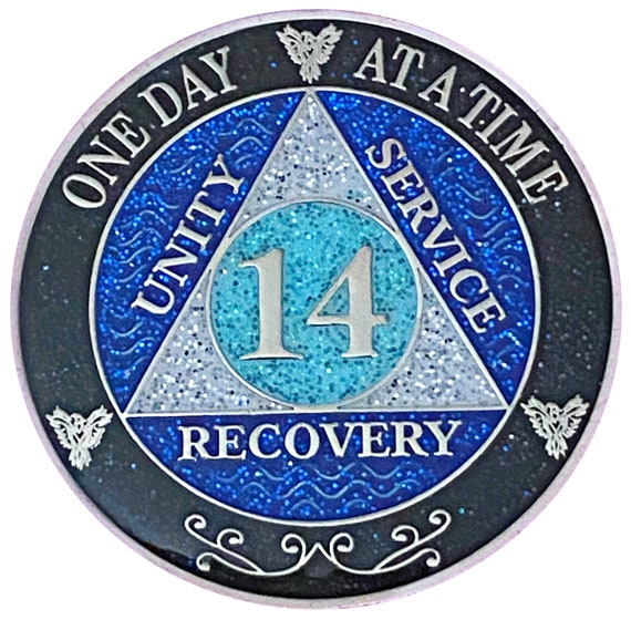 AA 14 Year Silver Color Plated Glitter Coin, Blue, Silver, Black Rainbow Glitter Alcoholics Anonymous Medallion
