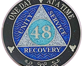AA 48 Year Silver Color Plated Glitter Coin, Blue, Silver, Black Rainbow Glitter Alcoholics Anonymous Medallion