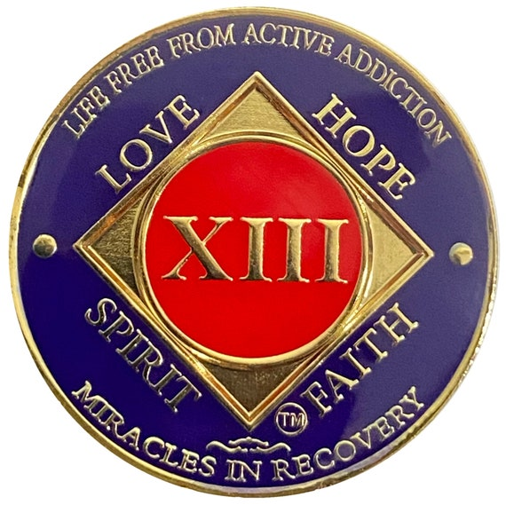 NA 13 Year Gold Color Plated-Medallion, Narcotics Anonymous Coin, Recovery Chip