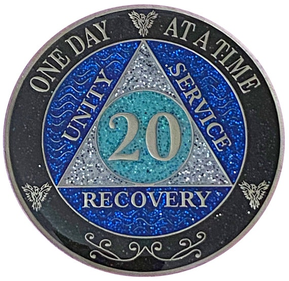 AA 20 Year Silver Color Plated Glitter Coin, Blue, Silver, Black Rainbow Glitter Alcoholics Anonymous Medallion