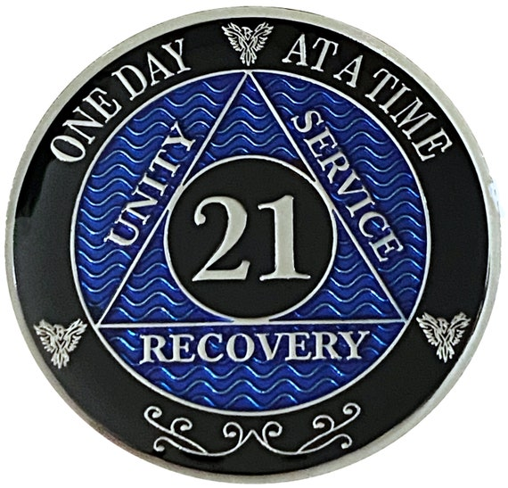 21 Year AA Coin Silver Color Plated Medallion, Recovery Chip, 12 Step Token, Alcoholics anonymous coin