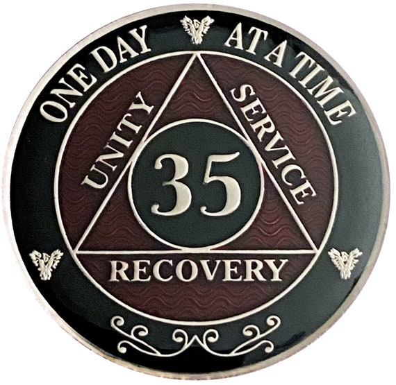 35 Year AA Coin Silver Color Plated-Medallion, Recovery Chip, 12 Step Token, Alcoholics anonymous coin