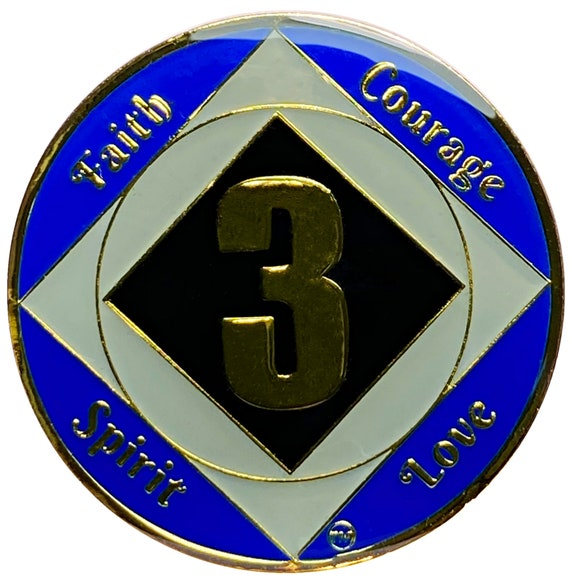 NA 3 Year Gold Color Plated Coin, Narcotics Anonymous Medallion