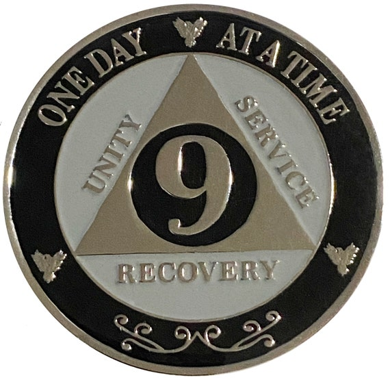 "AA XL 9 Year Silver Color Plated Coin, Large 45mm 1.75"" Alcoholics Anonymous Medallion"