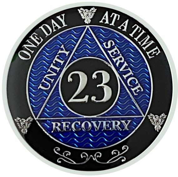 23 Year AA Coin Silver Color Plated Medallion, Recovery Chip, 12 Step Token, Alcoholics anonymous coin