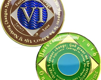 14K Gold Plated 6 Year Recovery Clean Time Birthday Medallion Sealed With Epoxy For A Shiny Glossy Look, NA Coin | Simply Minimal™