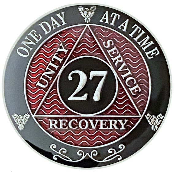 27 Year AA Coin Silver Color Plated Medallion, Recovery Chip, 12 Step Token, Alcoholics anonymous coin