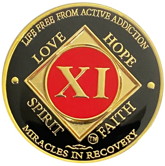 NA 11 Year Gold Color Plated Coin, Narcotics Anonymous Medallion, Recovery Chip