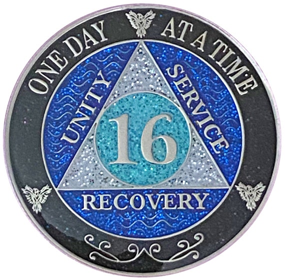 AA 16 Year Silver Color Plated Glitter Coin, Blue, Silver, Black Rainbow Glitter Alcoholics Anonymous Medallion