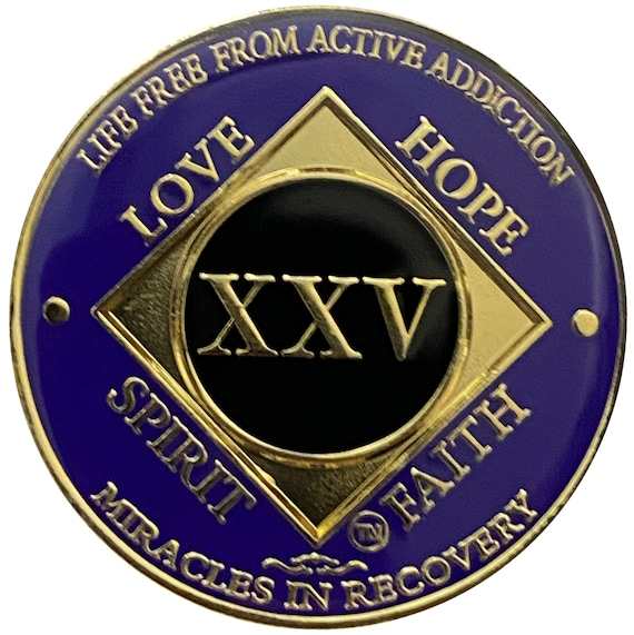 NA 25 Year Gold Color Plated Coin, Narcotics Anonymous Medallion