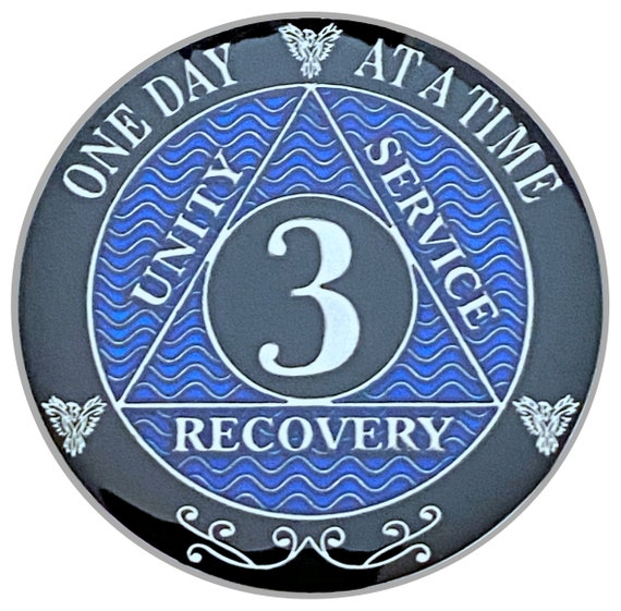 3 Year AA Coin Silver Color Plated Medallion, Recovery Chip, 12 Step Token, Alcoholics anonymous coin