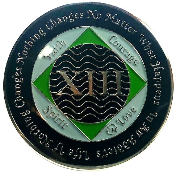NA 13 Year Silver Color Plated Coin, Narcotics Anonymous Medallion, Recovery Chip