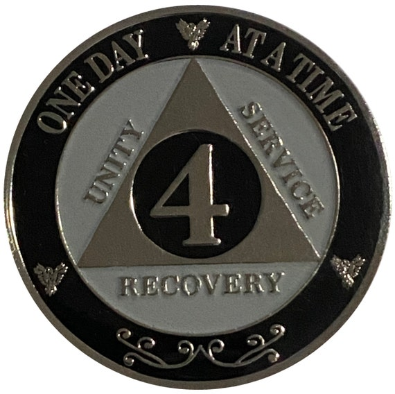 "AA XL 4 Year Silver Color Plated Coin, Large 45mm 1.75"" Alcoholics Anonymous Medallion"
