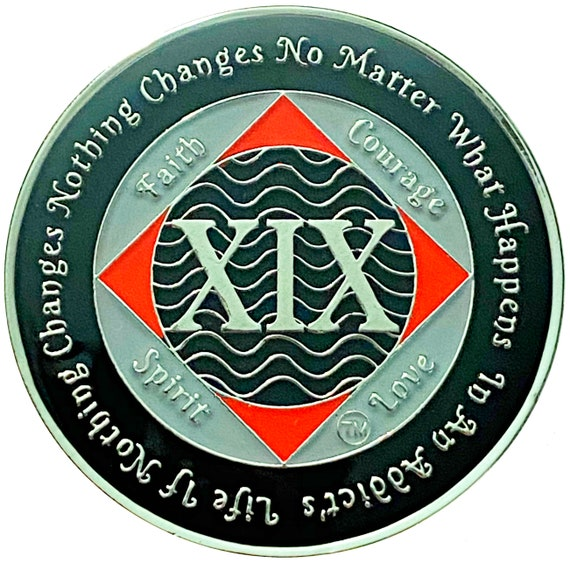 NA 19 Year Silver Color Plated Coin, Narcotics Anonymous Medallion