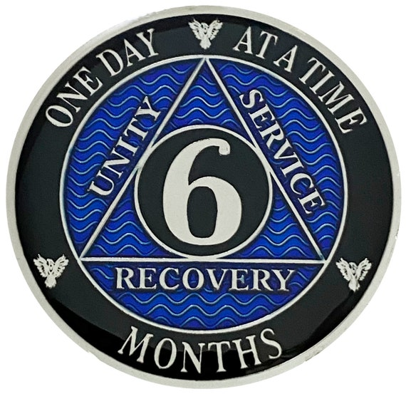 AA 6 Months Silver Color Plated Coin, Alcoholics Anonymous Medallion