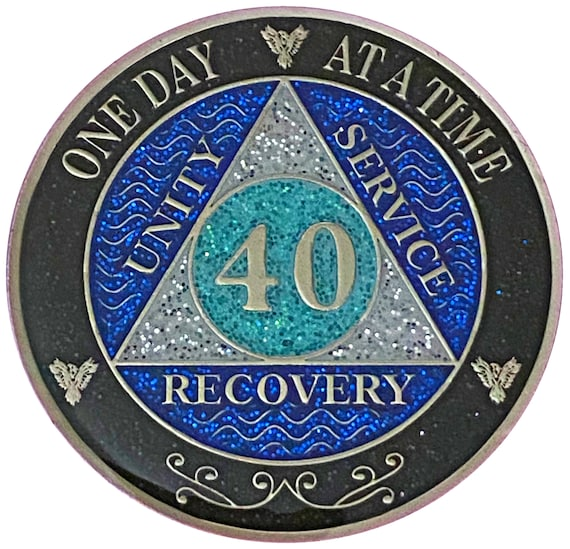 AA 40 Year Silver Color Plated Glitter Coin, Blue, Silver, Black Rainbow Glitter Alcoholics Anonymous Medallion
