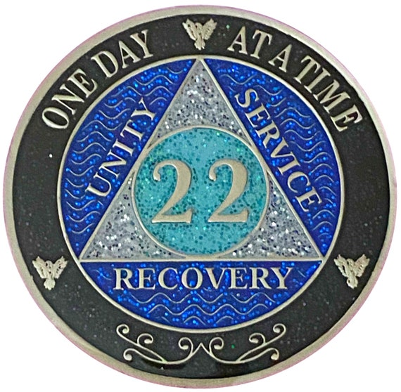AA 22 Year Silver Color Plated Glitter Coin, Blue, Silver, Black Rainbow Glitter Alcoholics Anonymous Medallion