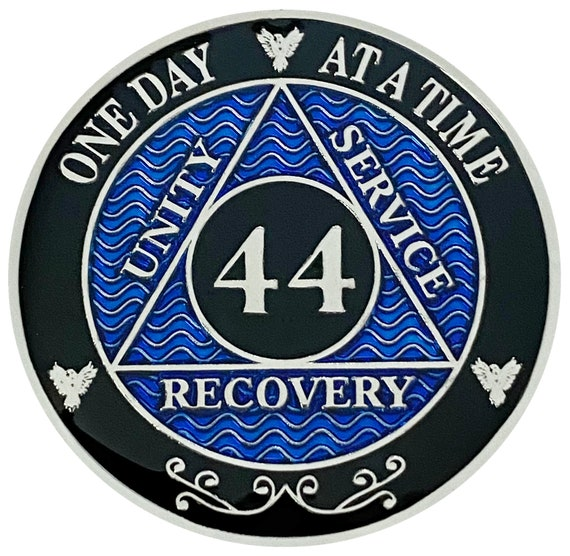 AA 44 Years Silver Color Plated Coin, Alcoholics Anonymous Medallion