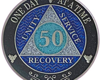AA 50 Year Silver Color Plated Glitter Coin, Blue, Silver, Black Rainbow Glitter Alcoholics Anonymous Medallion