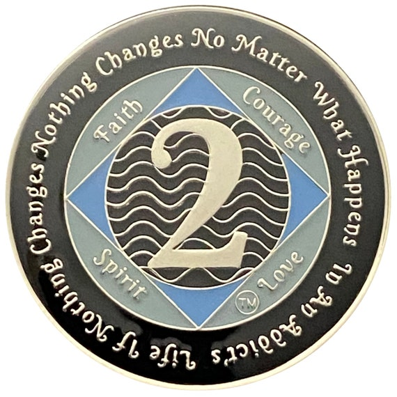 NA 2 Year Silver Color Plated Coin, Narcotics Anonymous Medallion
