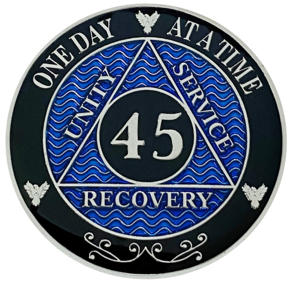 AA 45 Years Silver Color Plated Coin, Alcoholics Anonymous Medallion