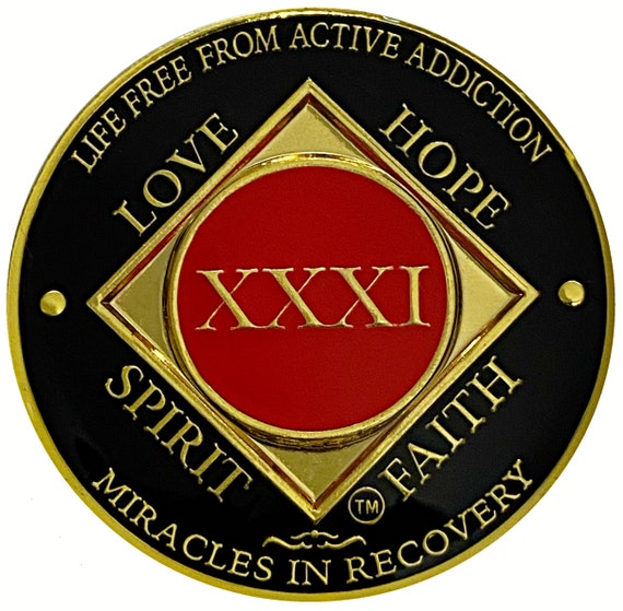 NA 31 Year Gold Color Plated Coin, Narcotics Anonymous Medallion