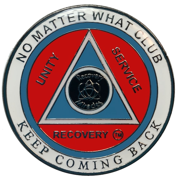 "AA Recovery ""No Matter What Club"" Medallion, Alcoholics Anonymous Sobriety Coin"