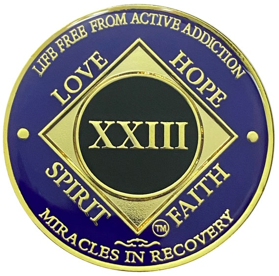 NA 23 Year Gold Color Plated Coin, Narcotics Anonymous Medallion