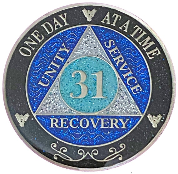 AA 31 Year Silver Color Plated Glitter Coin, Blue, Silver, Black Rainbow Glitter Alcoholics Anonymous Medallion