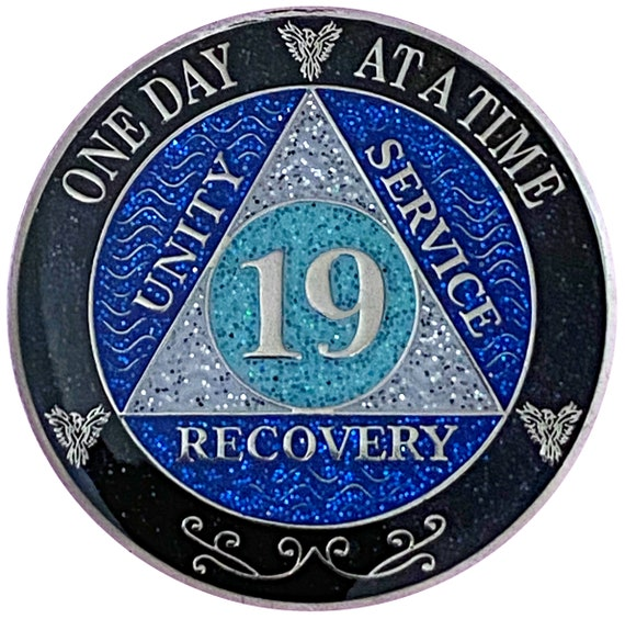 AA 19 Year Silver Color Plated Glitter Coin, Blue, Silver, Black Rainbow Glitter Alcoholics Anonymous Medallion