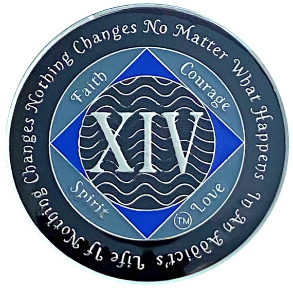 NA 14 Year Silver Color Plated Coin, Narcotics Anonymous Medallion