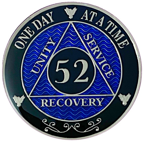 52 Year AA Coin Silver Color Plated-Medallion, Recovery Chip, 12 Step Token, Alcoholics anonymous coin