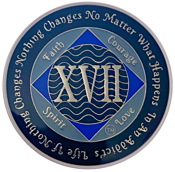 NA 17 Year Silver Color Plated Coin, Narcotics Anonymous Medallion