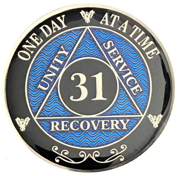 31 Year AA Coin Silver Color Plated-Medallion, Recovery Chip, 12 Step Token, Alcoholics Anonymous Coin