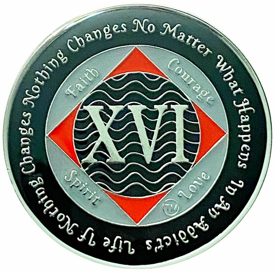 NA 16 Year Silver Color Plated Coin, Narcotics Anonymous Medallion