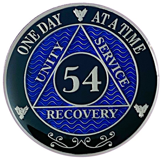54 Year AA Coin Silver Color Plated-Medallion, Recovery Chip, 12 Step Token, Alcoholics anonymous coin