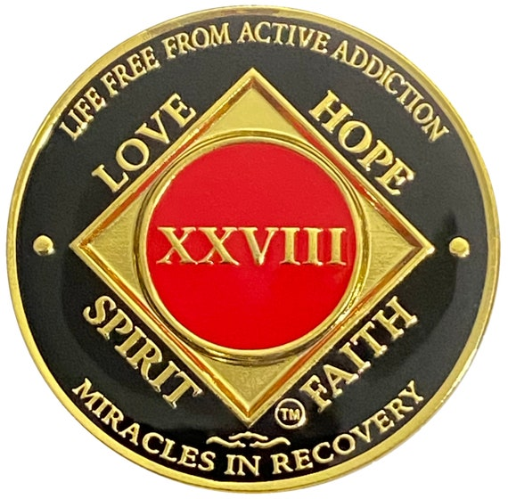 NA 28 Year Gold Color Plated-Medallion, Narcotics Anonymous Coin, Recovery Chip