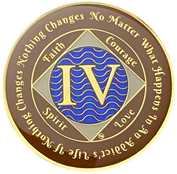 NA 4 Year Gold Color Plated Coin, Narcotics Anonymous Medallion