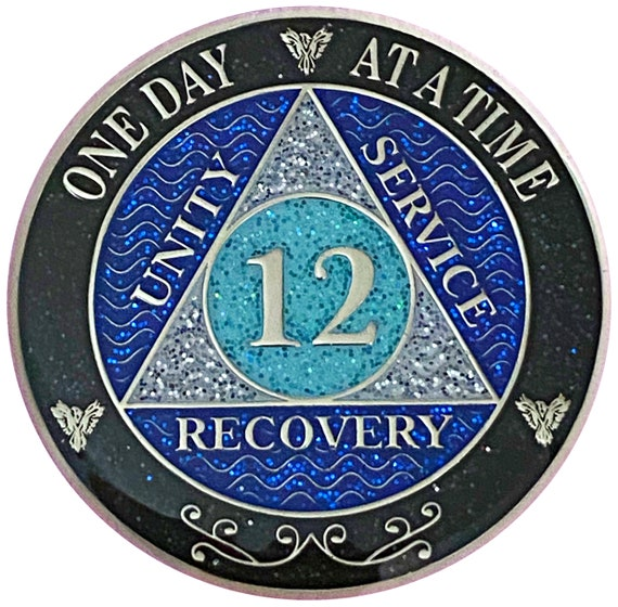 AA 12 Year Silver Color Plated Glitter Coin, Blue, Silver, Black Rainbow Glitter Alcoholics Anonymous Medallion