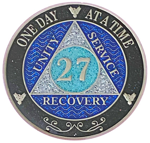 AA 27 Year Silver Color Plated Glitter Coin, Blue, Silver, Black Rainbow Glitter Alcoholics Anonymous Medallion