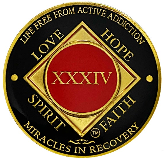 NA 34 Year Gold Color Plated Coin, Narcotics Anonymous Medallion