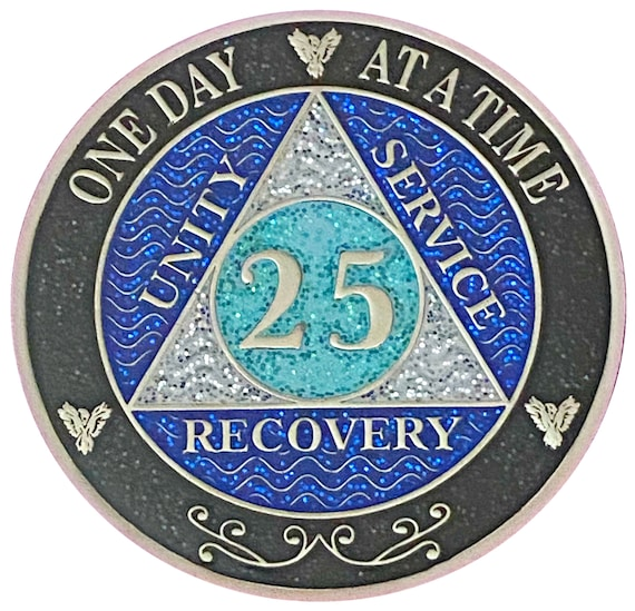 AA 25 Year Silver Color Plated Glitter Coin, Blue, Silver, Black Rainbow Glitter Alcoholics Anonymous Medallion