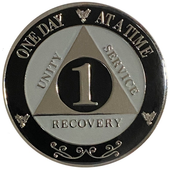 "AA XL 1 Year Silver Color Plated Coin, Large 45mm 1.75"" Alcoholics Anonymous Medallion"