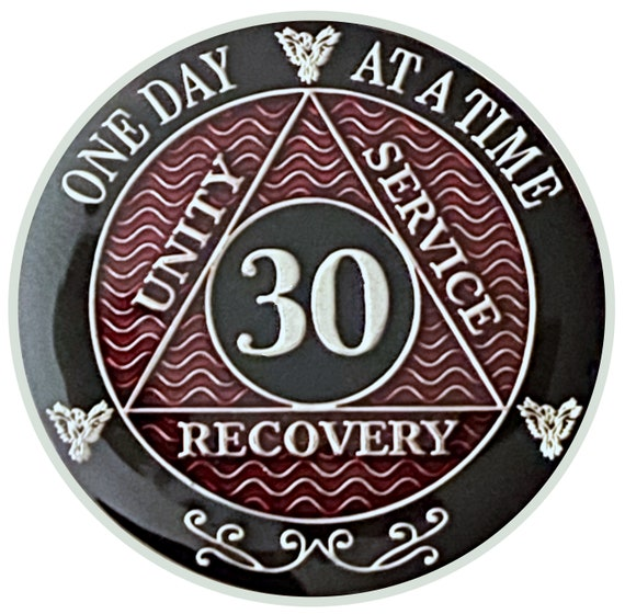 30 Year AA Coin Silver Color Plated Medallion, Recovery Chip, 12 Step Token, Alcoholics anonymous coin