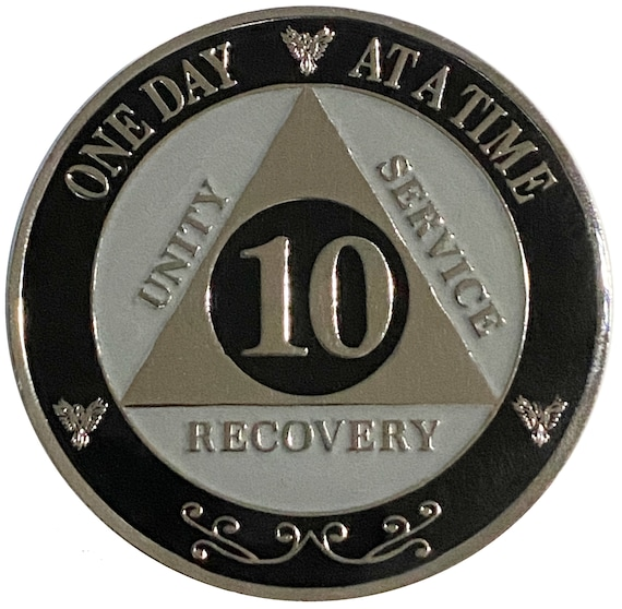 "AA XL 10 Year Silver Color Plated Coin, Large 45mm 1.75"" Alcoholics Anonymous Medallion"