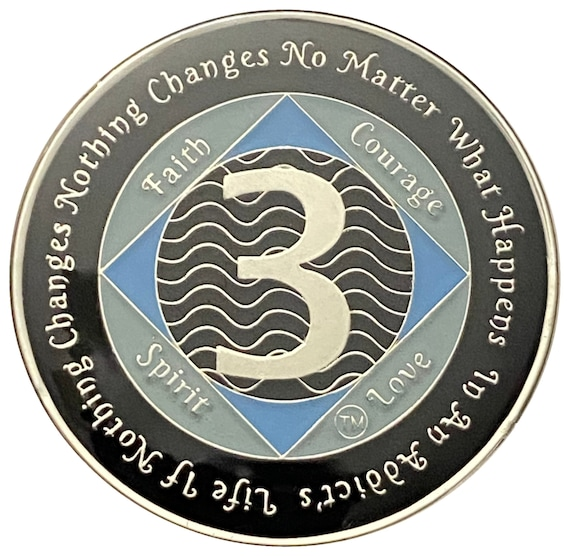 NA 3 Year Silver Color Plated Coin, Narcotics Anonymous Medallion
