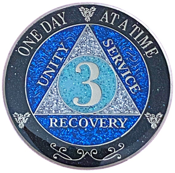 AA 3 Year Silver Color Plated Glitter Coin, Blue, Silver, Black Rainbow Glitter Alcoholics Anonymous Medallion