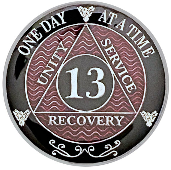 13 Year AA Coin Silver Color Plated Medallion, Recovery Chip, 12 Step Token, Alcoholics anonymous coin