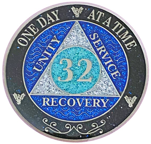 AA 32 Year Silver Color Plated Glitter Coin, Blue, Silver, Black Rainbow Glitter Alcoholics Anonymous Medallion