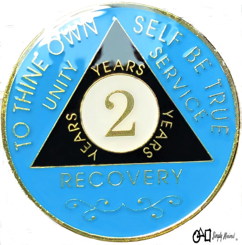 12 Step Token Recovery Chip 3 Year AA Coin Gold Tri-Plated Medallion Alcoholics anonymous coin
